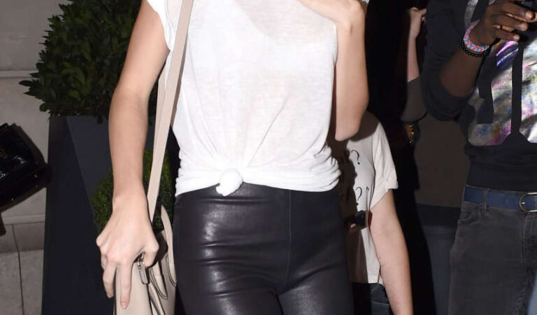 Kendall Jenner Leather Trousers Out Paris (27 photos)
