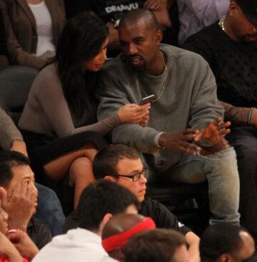 Kim Kardashian Kanye West Lakers Game Staples Center
