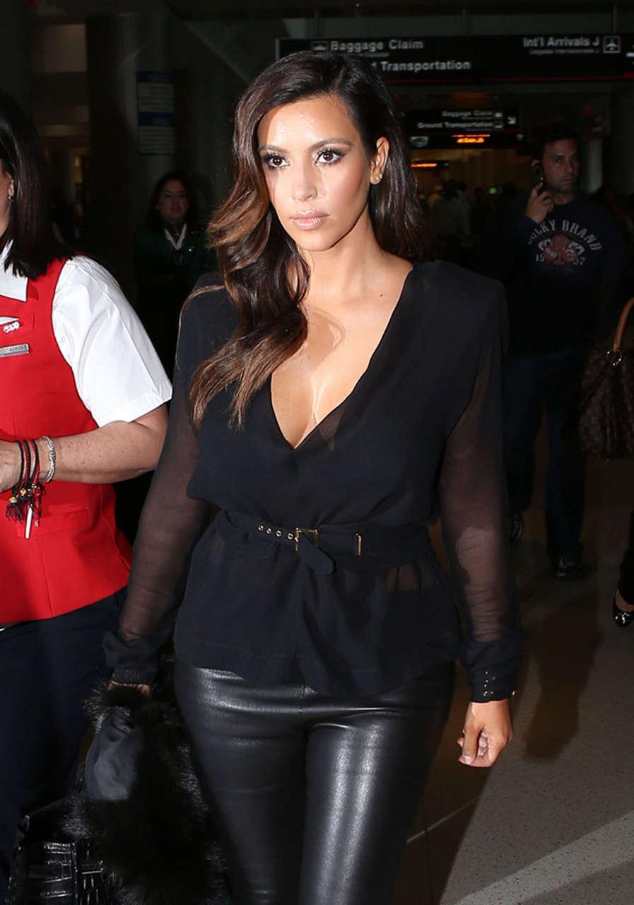 Kim Kardashian Leather Pants Arrives Miami Airport