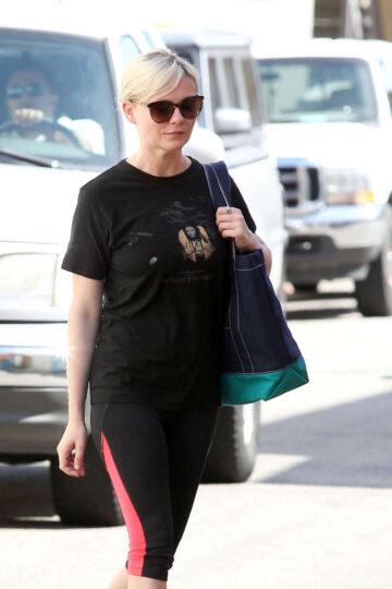 Kirsten Dunst Tights Leggings Arrives Gym Los Angeles
