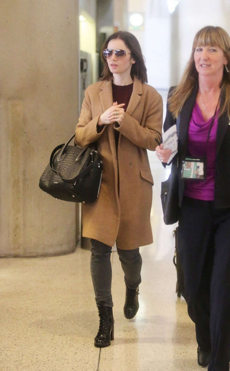 Lily Collins Lax Airport Los Angeles