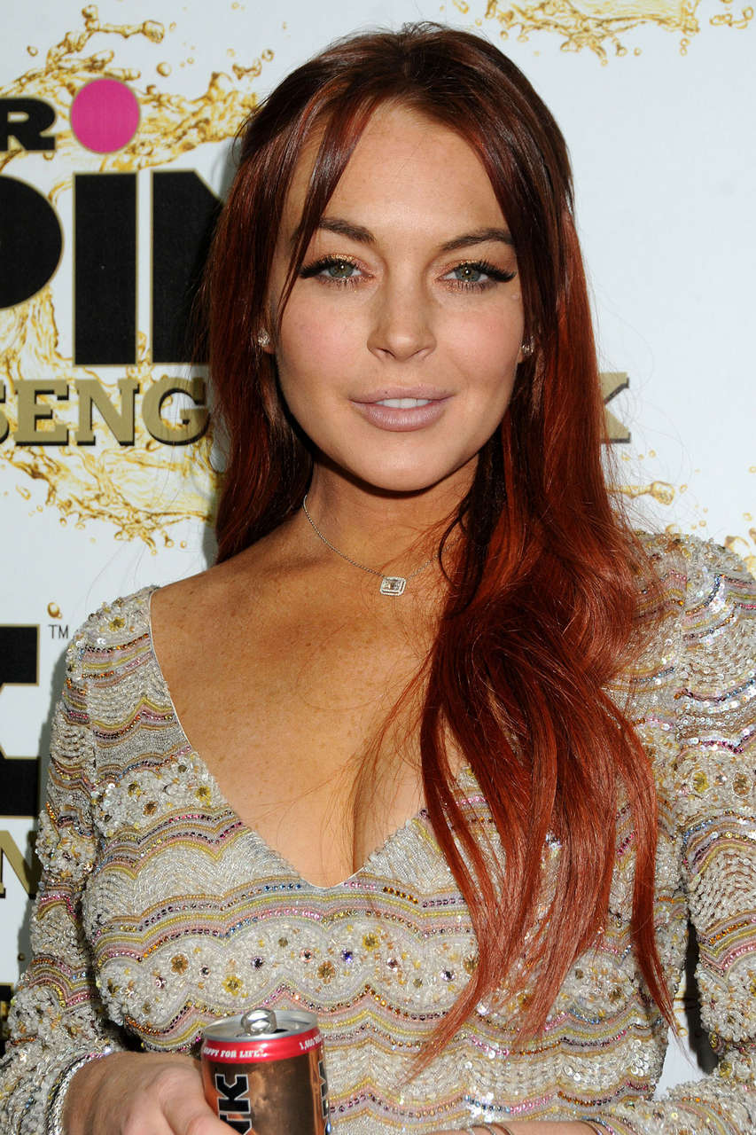 Lindsay Lohan Mr Pink Ginseng Drink Launch Party Beverly Hills