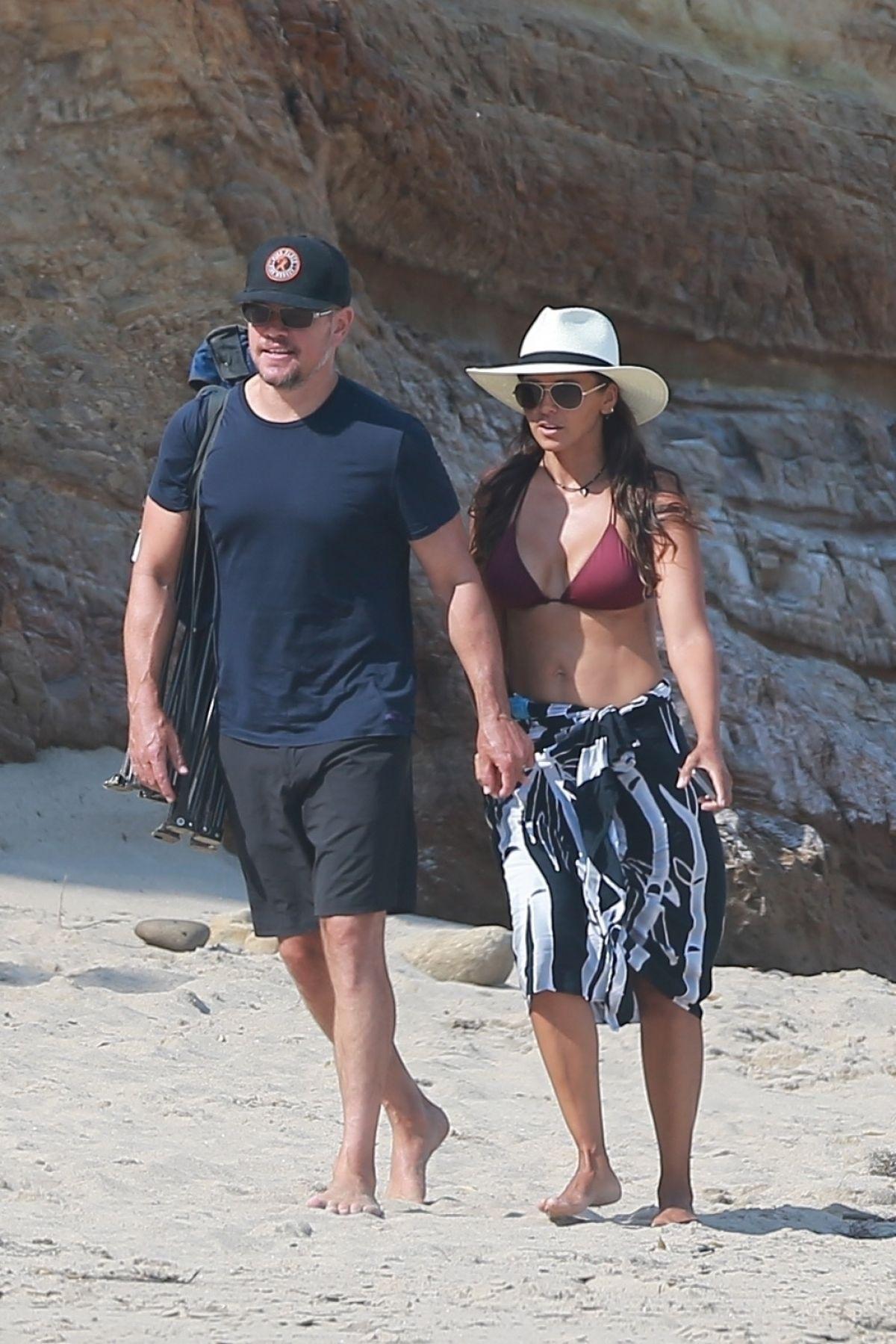 Luciana Barroso Matt Damon Out Beach Malibu
