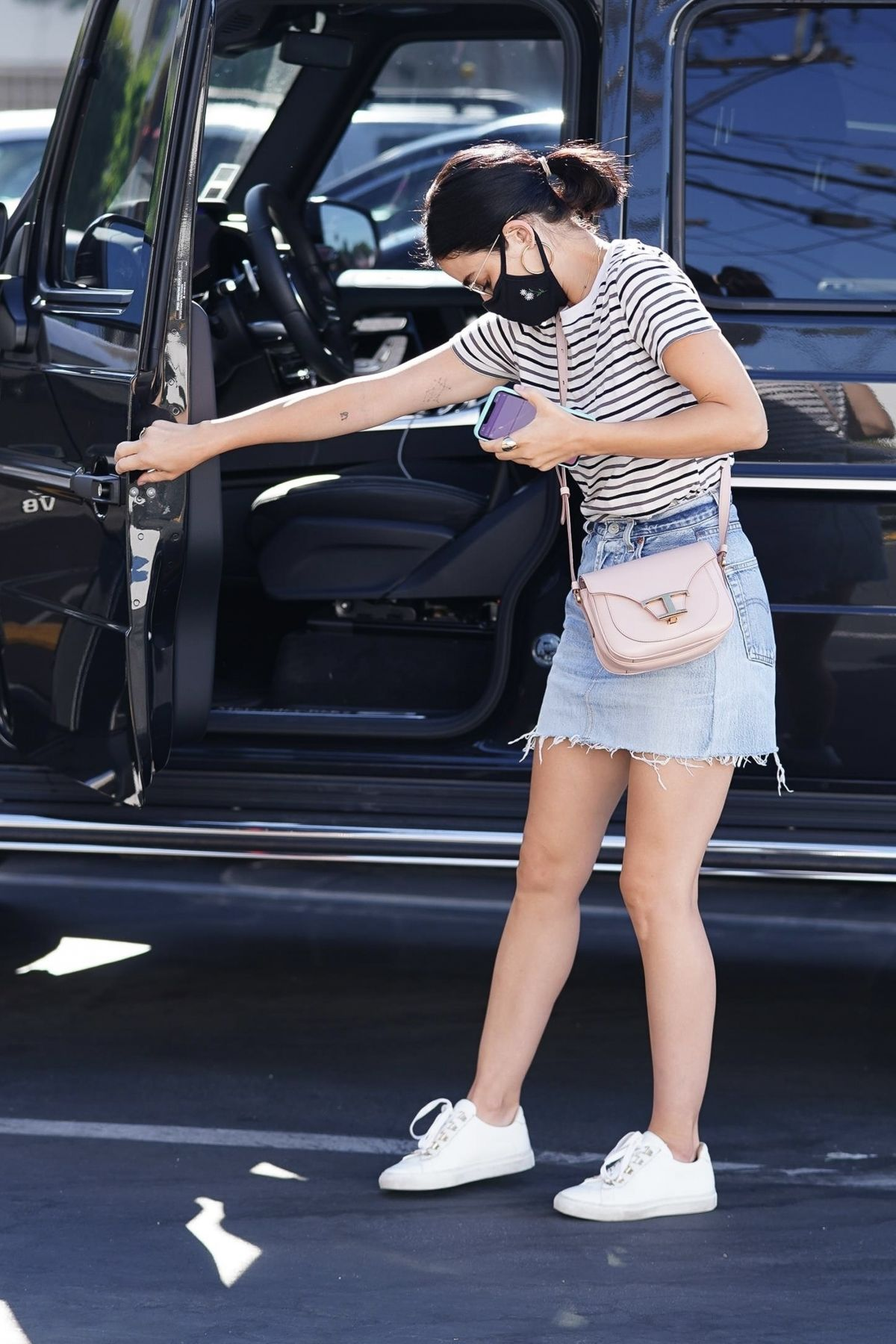 Lucy Hale Denim Skirt Out Toluca Lake