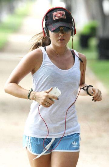 Lucy Hale Out Jogging Los Angeles