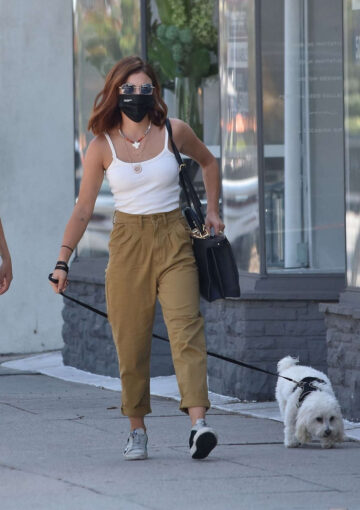 Lucy Hale Shows New Hair Color Out Sherman Oaks