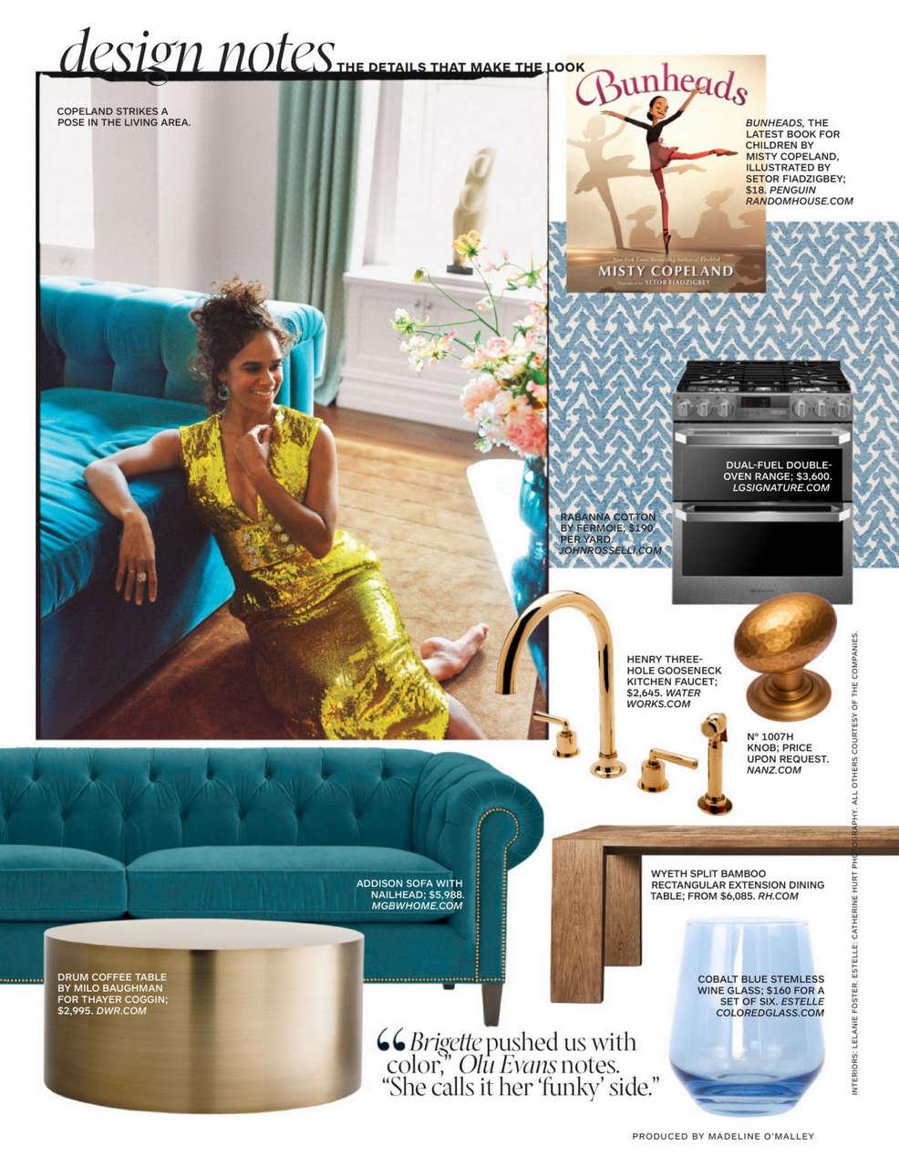 Misty Copeland Architectural Digest Magazine October