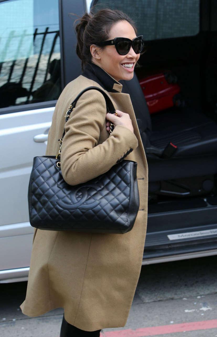 Myleene Klass Arrives Studio London