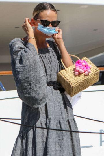 Natasha Poly Wearing Mask Out Saint Tropez