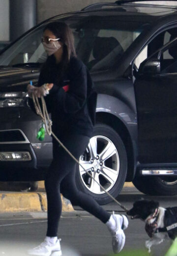 Nina Dobrev Arrives With Her Dog Airport Vancouver