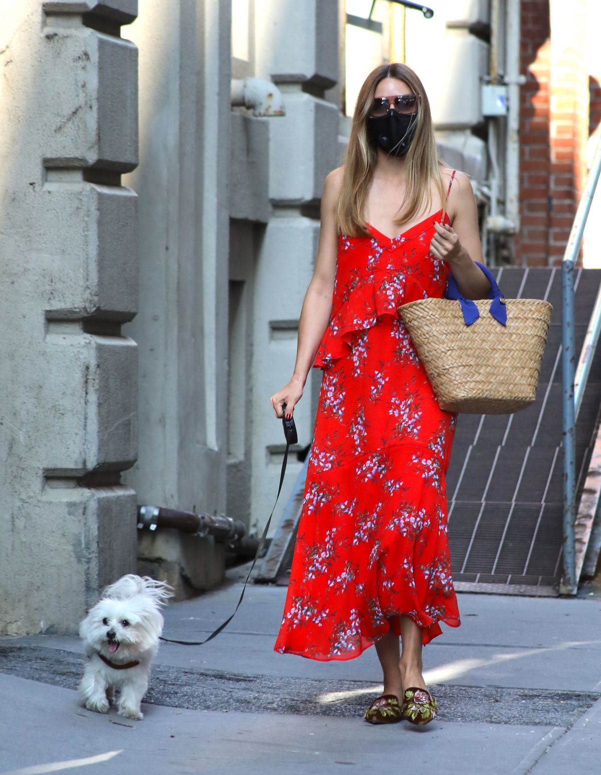 Olivia Palermo Red Summer Dress Out With Her Dog Brooklyn