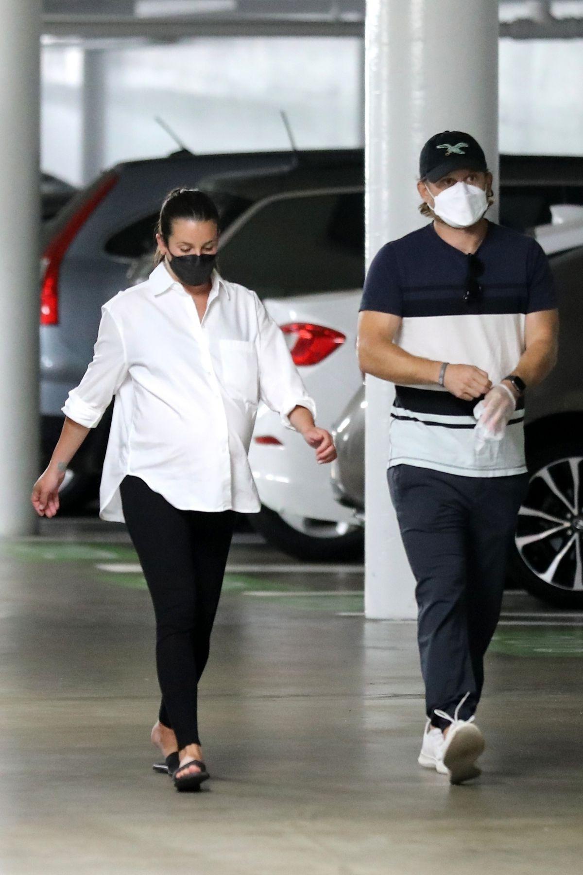 Pregnant Lea Michele Heading For Checkup Santa Monica