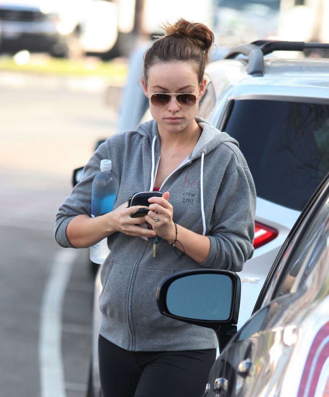 Pregnant Olivia Wilde Leaves Gym West Hollywood