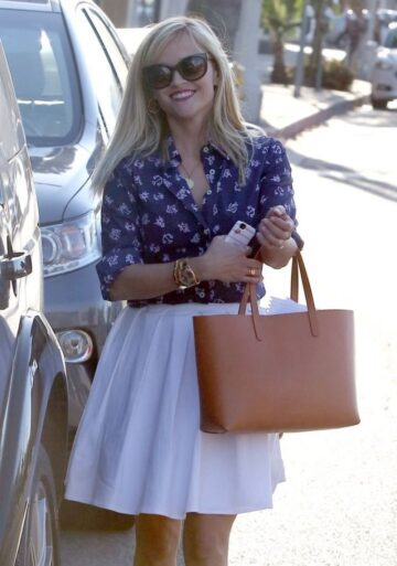 Reese Witherspoon White Skirt Out About West Hollywood