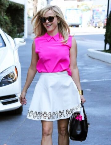 Reese Witherspoon White Skirt Out West Hollywood