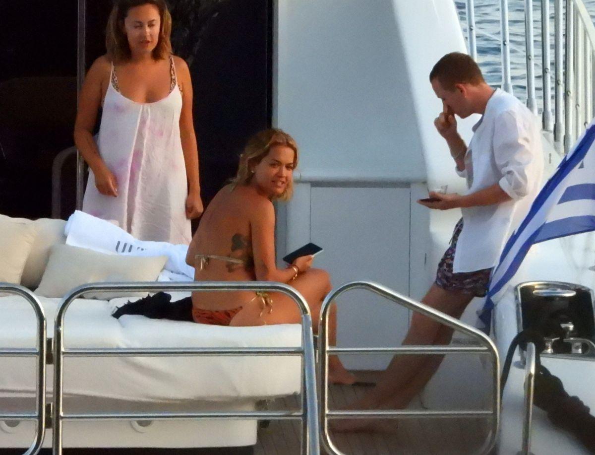 Rita Ora Bikini Boat Greece