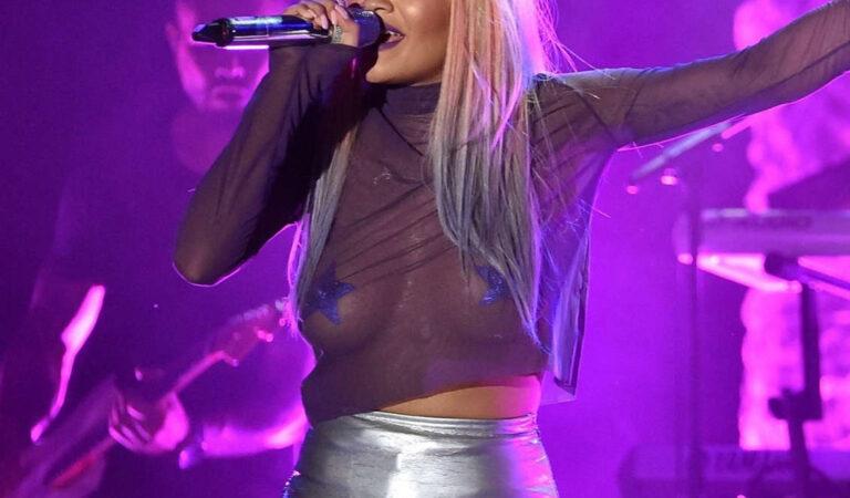 Rita Ora Sheer Top Aic (2 photos)