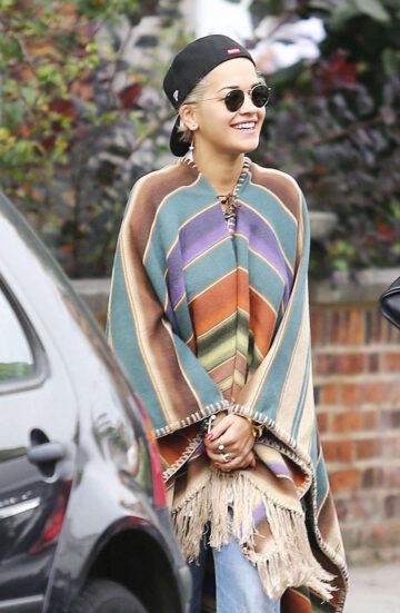 Rita Ora Wearing Poncho Out London