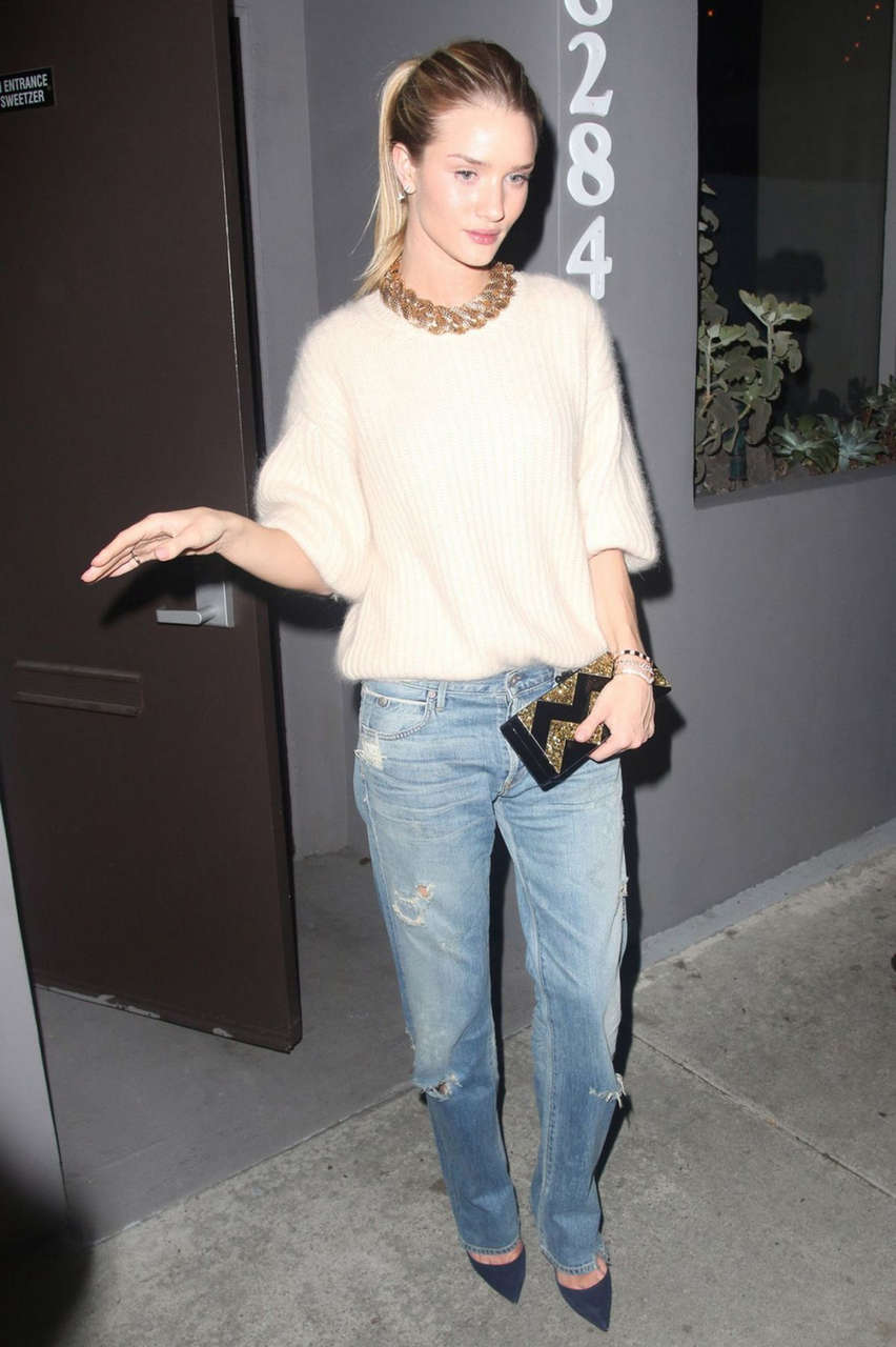Rosie Huntington Whiteley Leaves Crossroads Reataurant West Hollywood