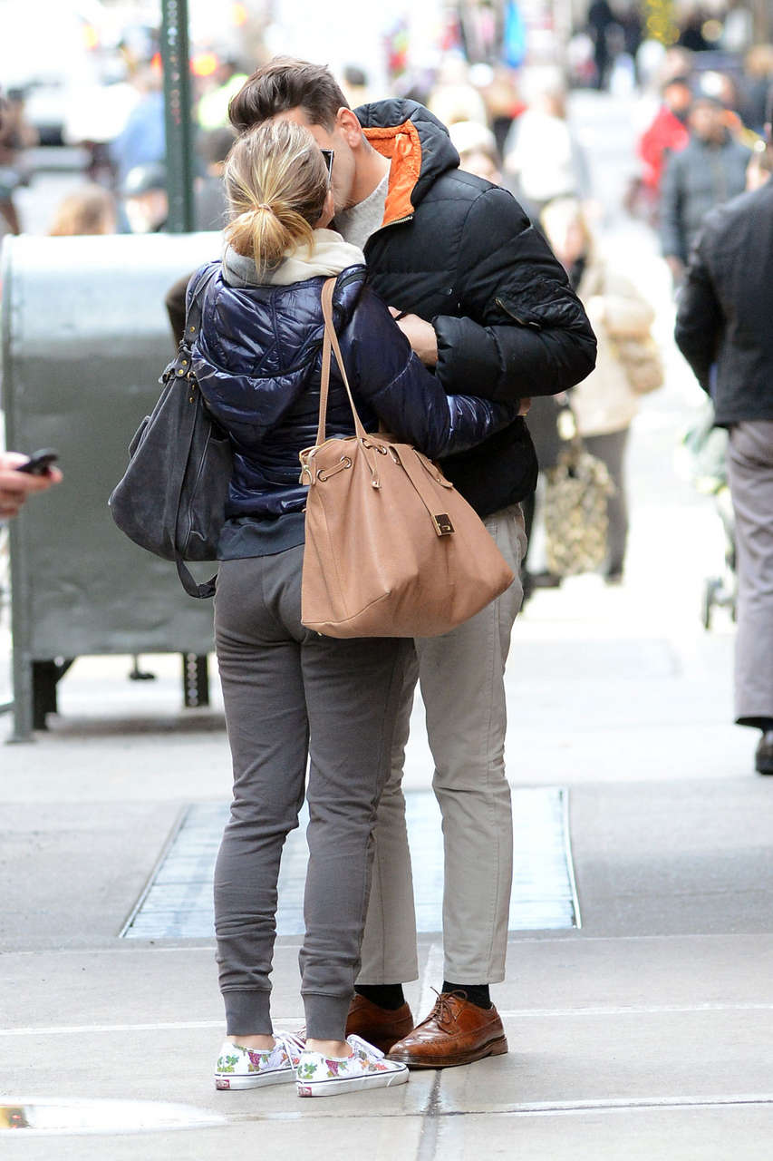 Scarlett Johansson Kisses Romain Dauriac Outside Her Hotel New York