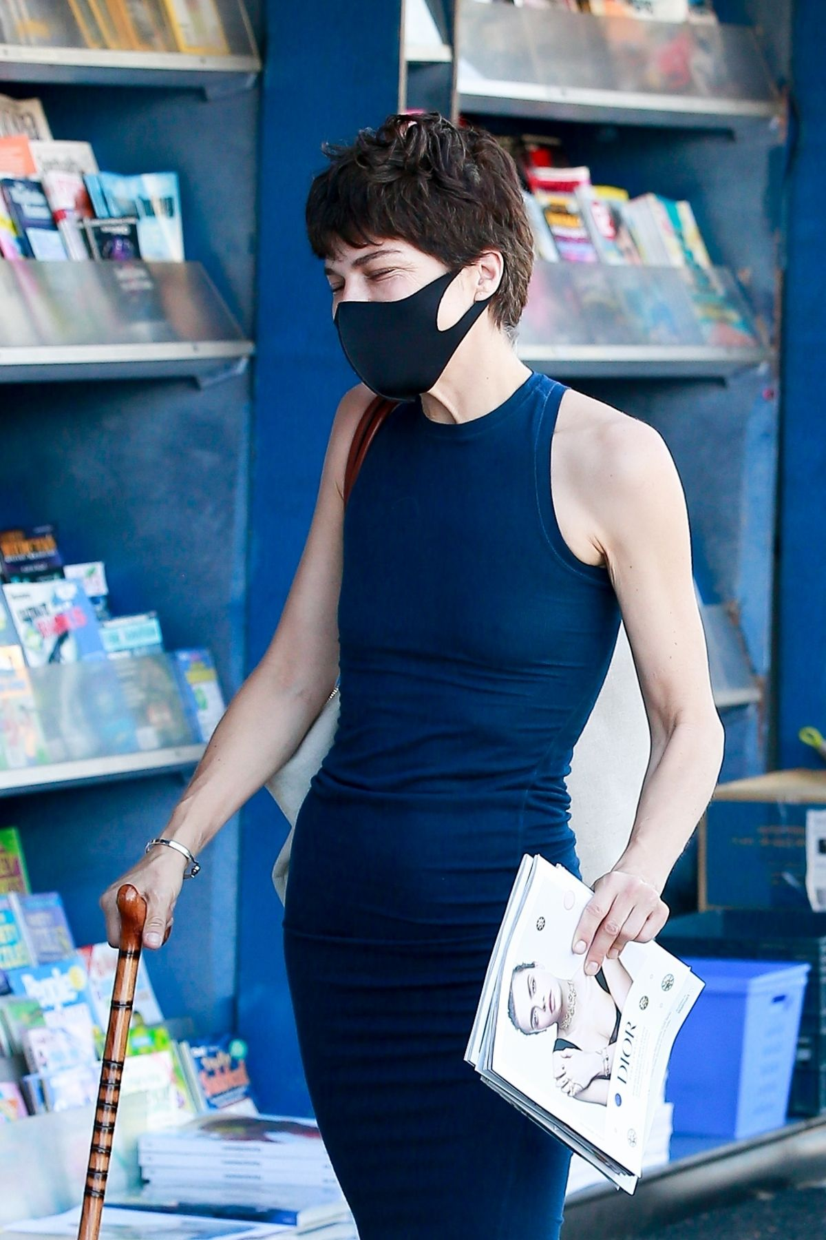Selma Blair Wearing Mask Newsstand Los Angeles