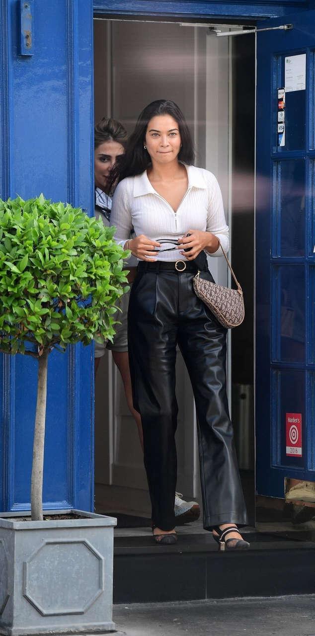 Shanina Shaik Leaves Scallinis Italian Restaurant New York
