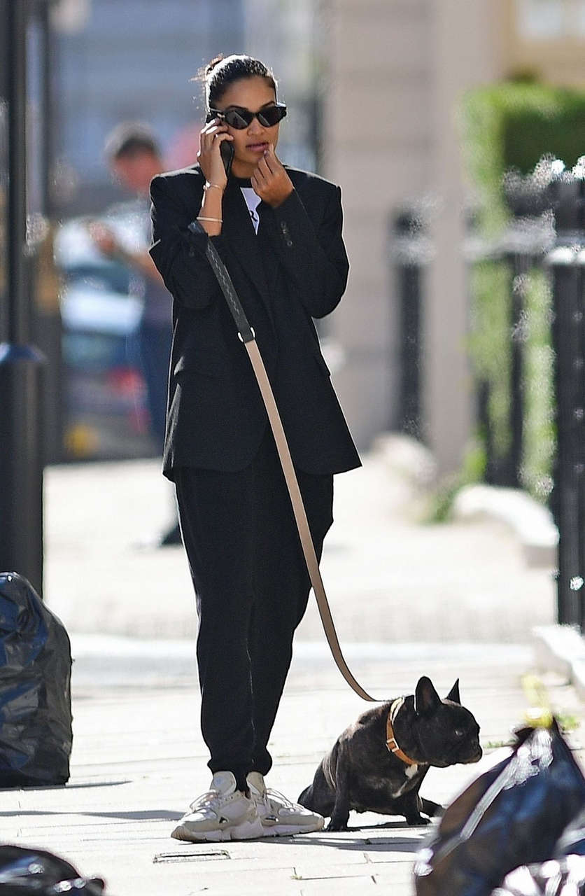 Shanina Shaik Out With Her Dog London