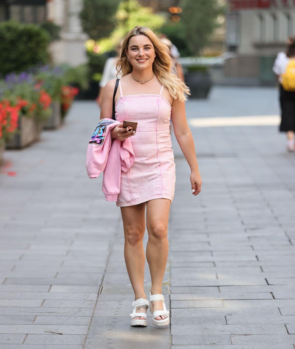 Sian Welby Pink Denim Mini Dress Out London