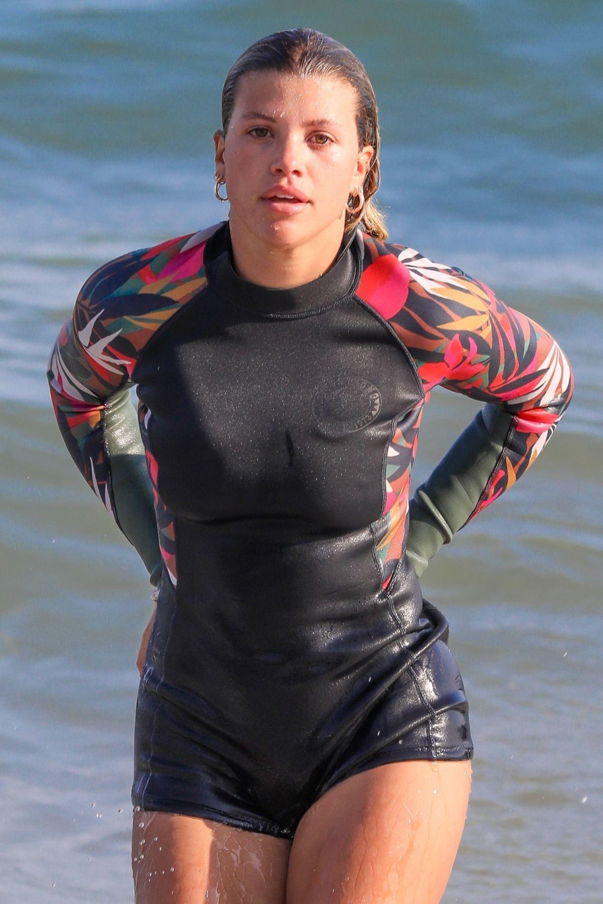 Sofia Richie Wetsuit Paddleboarding Malibu