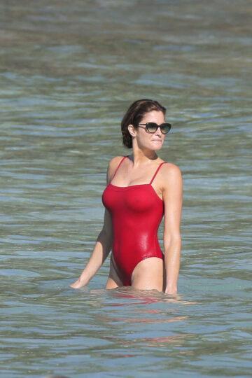 Stephanie Seymour Red Swimsuit Beach St Barts