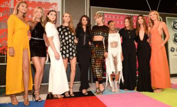 Taylor Swifts Squad Gigi Hadid Martha Hunt Hailee Steinfeld Cara Delevingne Selena Gomez Taylor Swift Serayah Mariska Hargitay Lily Aldridge And Karlie Kloss