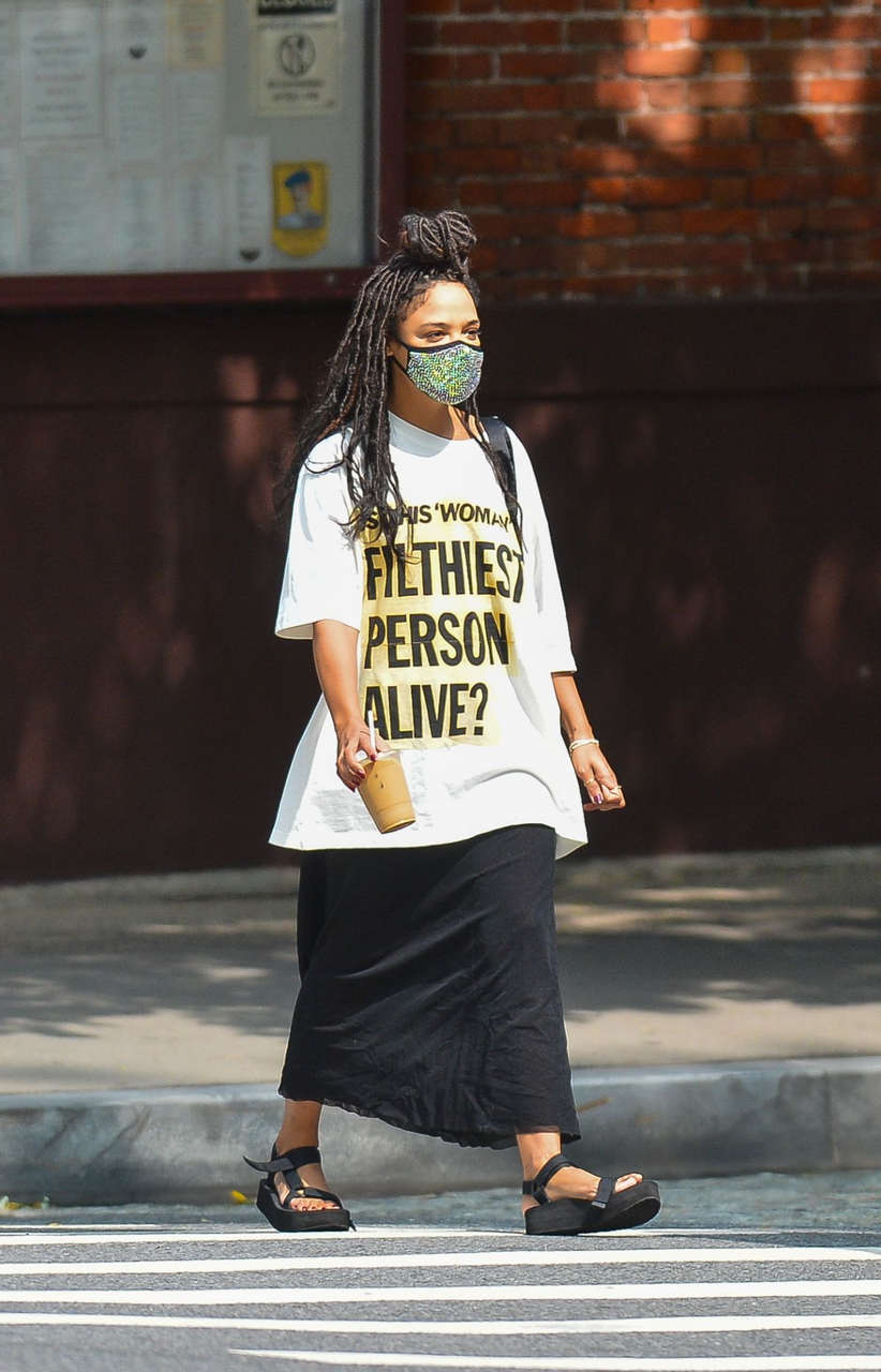 Tessa Thompson Out With Her Dog New York