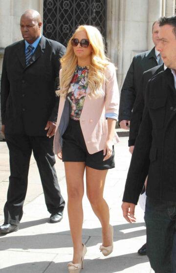 Tulisa Contostavlos Shorts Leaving Court London