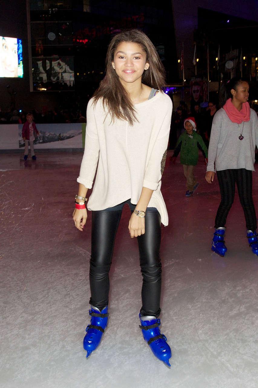 Zendaya Coleman Ice Skating Nokia Plaza Los Angeles