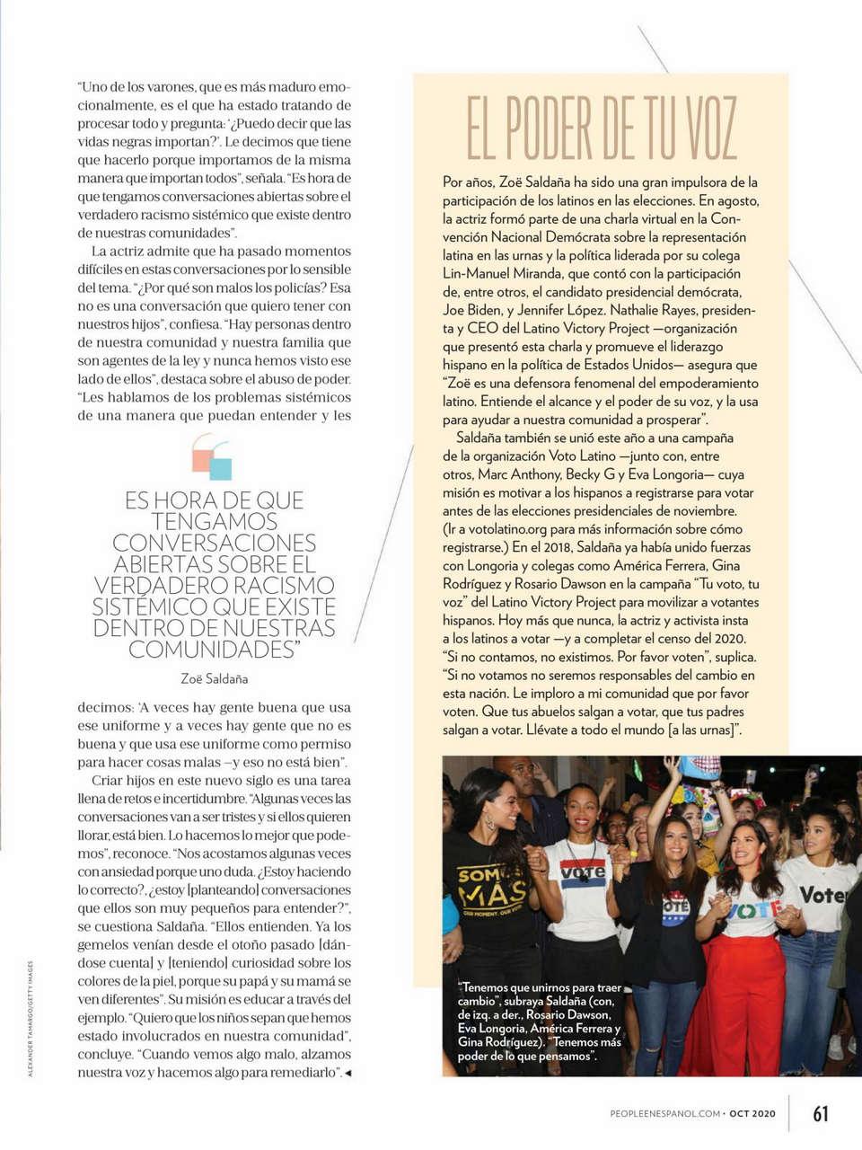 Zoe Saldana People En Espanol October